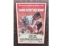 FRAMED GONE WITH THE WIND original cinema poster VIVIEN LEIGH/CLARK GABLE one sheet 27x41 inches