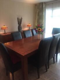 Large Dining Table and 8 Chairs with additional offer for Sideboard, Wicker Shelf Unit etc