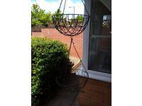 2 Metal hanging Baskets & 1 Free standing basket
