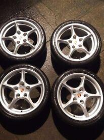 Genuine Porsche 986 Boxster Carrera Alloys WITH winter tyres 99636213405 99636213800 7.5J 9J 18