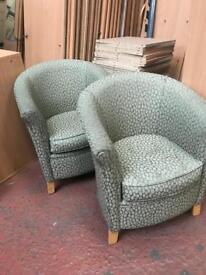 Green Fabric Tub Chairs