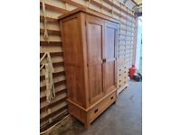 Solid Oak Double Wardrobe from Oak Furnitureland (Original Rustic) (2 available) Delivery Available