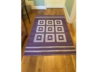 Lightweight Purple and White Rug W46in/117cm L71in/180cm Good condition R184