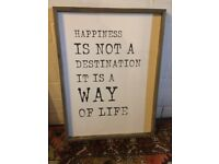 "BN PICTURE FRAME WOOD SIGN ""HAPPINESS IS NOT A DESTINATION IT IS A WAY OF LIFE"""