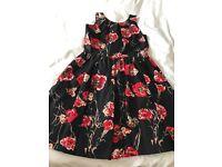 Girls Black & Red flower dress