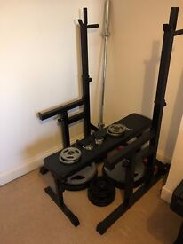 4ft Barbell, barbell stand, bench and various weights