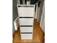 Grey wooden 4 drawer filing cabinet in good condition.