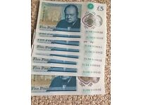 8 x Sequential new £5 notes