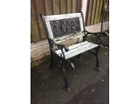 Cast Iron Lattice Backed Garden Chair For Restoration