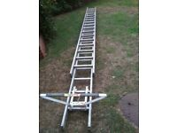 Pair of Aluminium 4.5m Youngman DIY Extension Ladders plus an Abru Ladder Stand off.