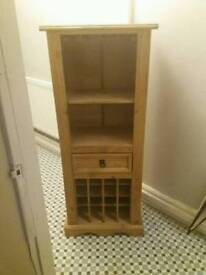 Wooden wine and glass rack with draw