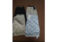 """mens size 36"""" shorts and blue and white size L £12 2 pairs have tags on"""