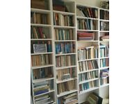 Well made old pine painted bookshelves