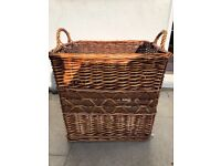 Large square wicker basket logs, laundry with cover