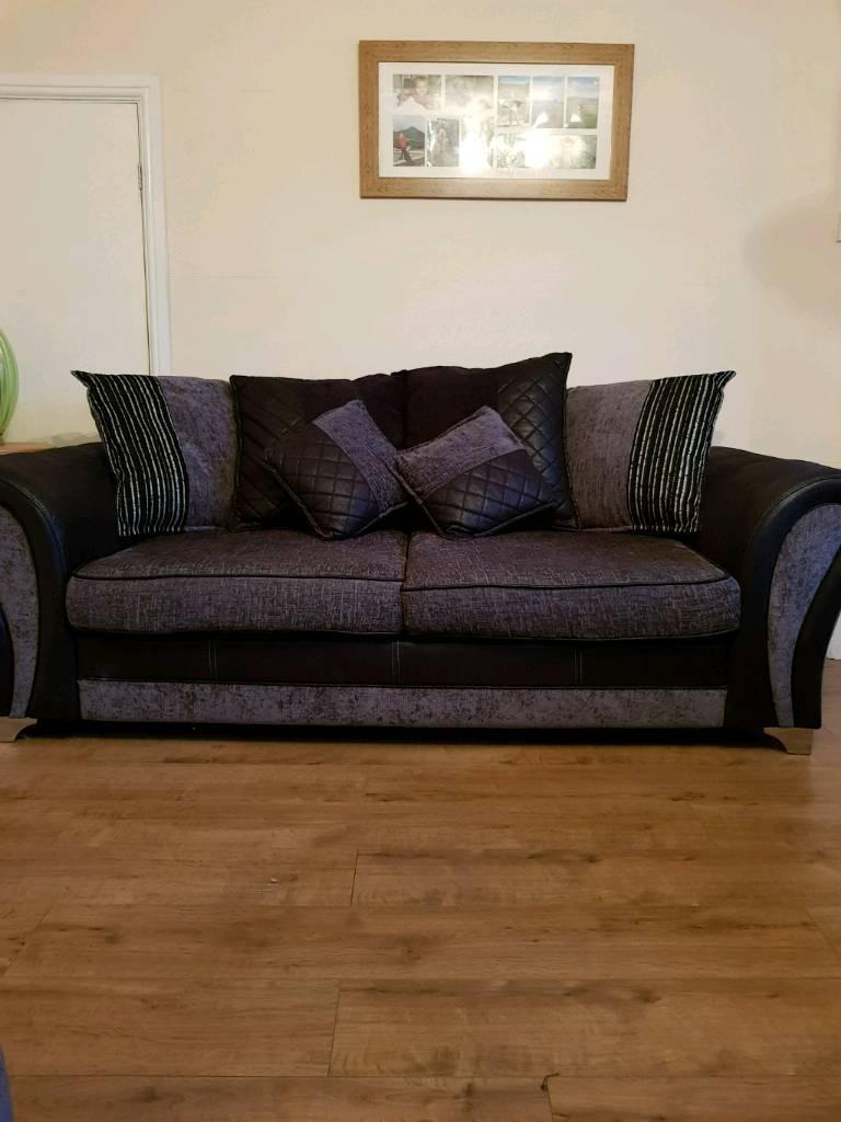 3 seater sofa with swivel moon chair n stool
