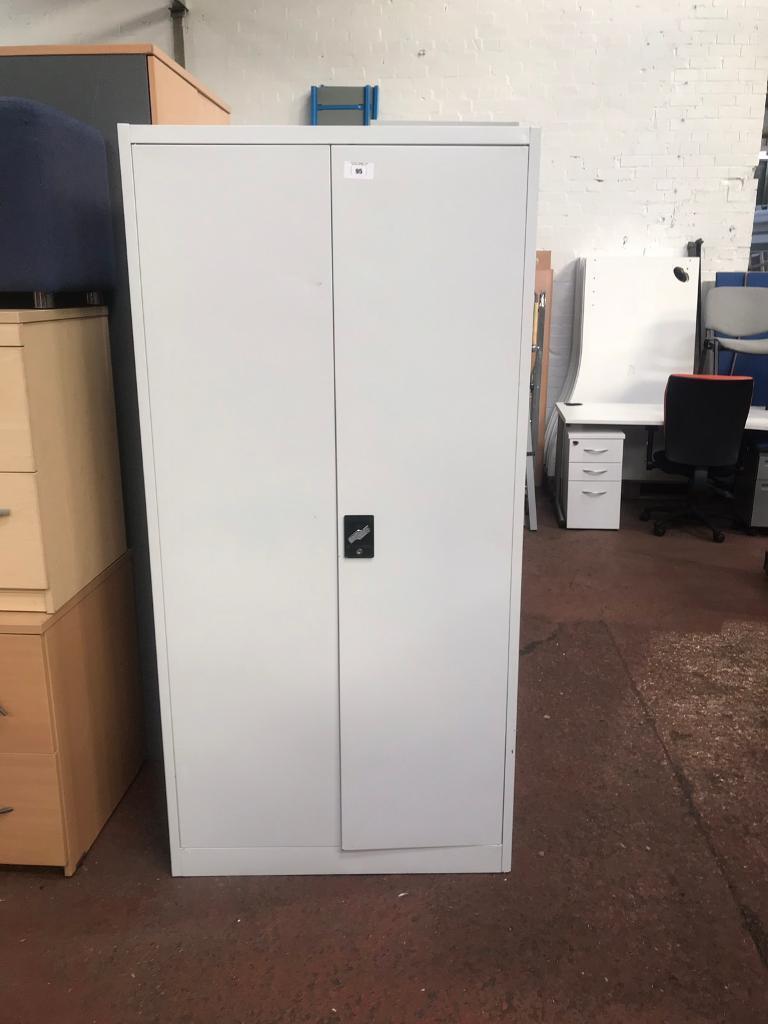 Double Door Metal Storage Cabinet With Shelves And Bar In