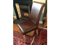4 Leather and oak chairs for sale
