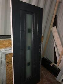 Composite Anthracite grey door slab external with white internal door slab.