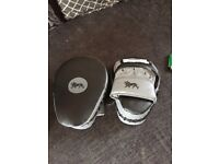Boxing gloves, pads and boots size 8