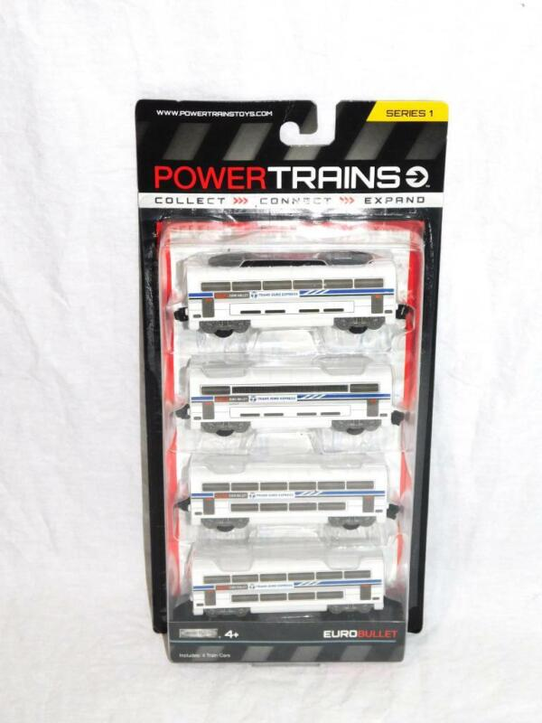 Power Trains Euro Bullet 4 Train Cars NEW Series 1 Rides On & Off Tracks Kid Toy