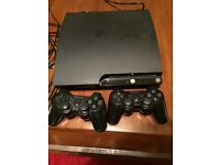 Playstation 3, 2 controllers + 20 games including gta5 gran turismo an call of duty