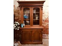 Solid wooden antique style bookcase linen cupboard