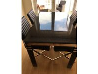 Black gloss and marble table and chairs
