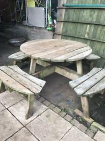 Solid wood round picnic table