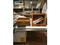 Pull out wicker kitchen baskets