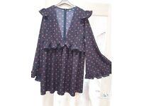 Boohoo Black/Red Spot Dress Size 16