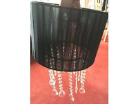 Black sheer light / lamp shade with crystal drop
