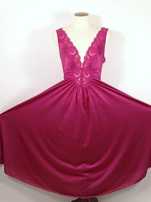 Vintage OLGA Nightgown XL 98280 Full Sweep Lace Bodice Spandex Raspberry Dk Pink