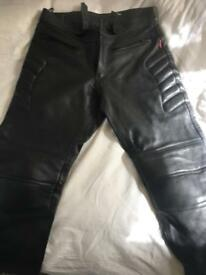 Mens leather motorbike trousers