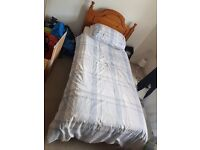 Solid Pine Single Bed/Mattress