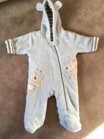 Next blue snowsuit pramsuit 0-3 months.