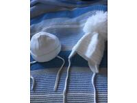 Pair first size hats white wool