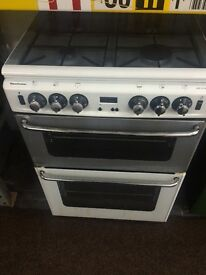 White & silver new home 60cm gas cooker grill & oven good condition with guarantee bargain