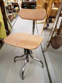Vintage polished steel machinists chair