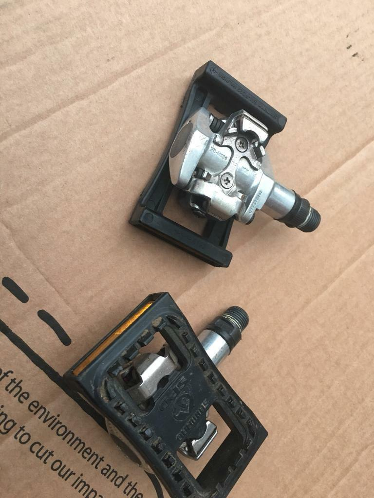 Shimano Spd Pedals With Flat Plate For Mountain Bike And