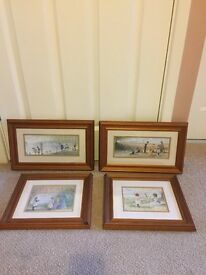 Set of 4 pine framed pictures