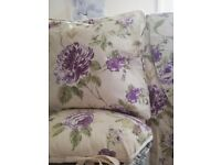 Beautiful new cream/lilac floral curtains/tiebacks /cushion & linen basket £10 the lot plus others