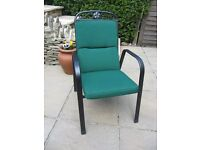 Set of 4 garden chair cushions, Hunter Green colour. Nearly new. 2 high back & 2 recliner style