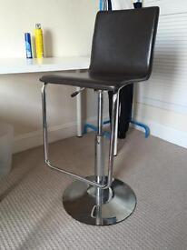 John Lewis brown leather bar stools.
