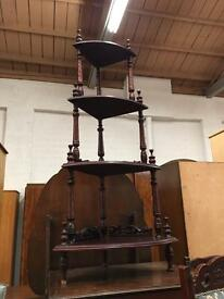 ** ANTIQUE SOLID MAHOGANY WHATNOT STAND **