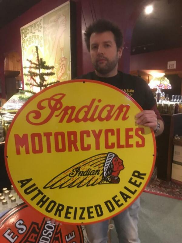 huge indian motor gasoline oil dealer porcelain sign MAKE AN OFFER! 14