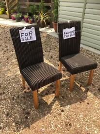 Pair of lovely oak legged brown/cream striped dining chairs