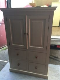 Heavy Painted pine tall boy cupboard with four small drawers