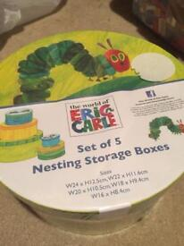 Brand new unopened The Hungry caterpillar 3 nesting storage boxes