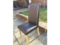 6 brown faux leather dining chairs