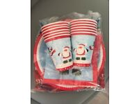 Set of 12 Kids disposable plates cups napkins tableclothe Christmas Theme Xmas Party for Children